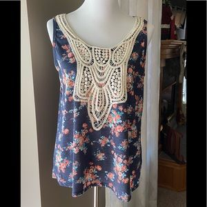 Maurice's Floral Tank w/ Crocheted Overlay